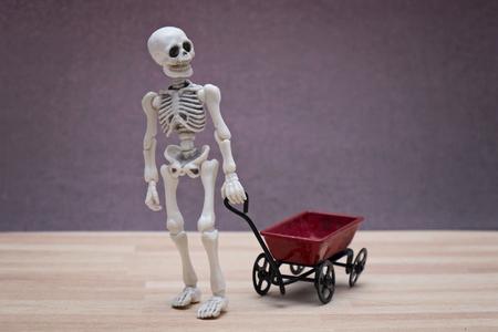 pull toy: Esqueleto tocando carro de juguete