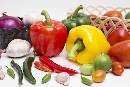 spicy cooking: Red and green chili pepper, paprika and other spices