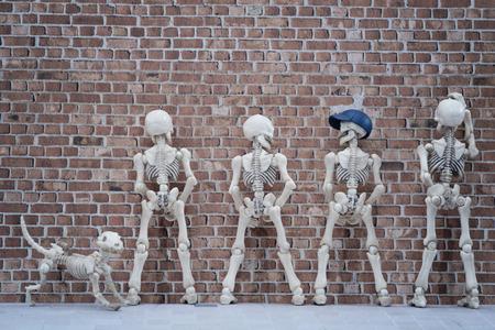 latrine: Skeletons pissing at the brick wall