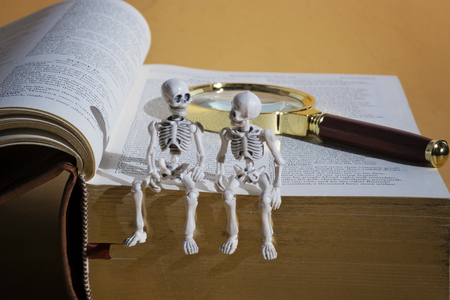 Two skeletons sitting on a thick book