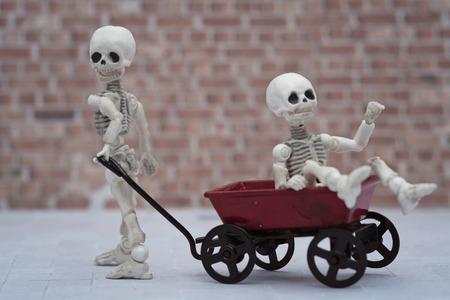 pull toy: ni�os que juegan esqueleto vag�n de juguete