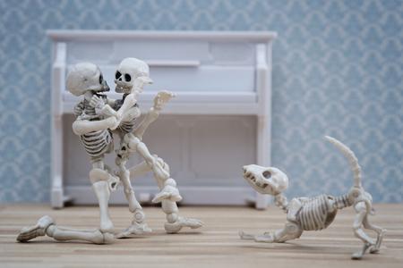 mother love: Skeleton hugging his child