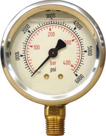 A hydraulic pressure gauge 0-6000 PSI.