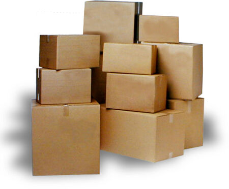 moving box: storage boxes stacked on top of each other. Stock Photo