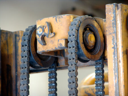 Forklift chain mechanism.