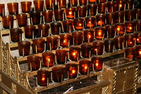 Prayer candles in New York Citys St. Patricks Cathedral.