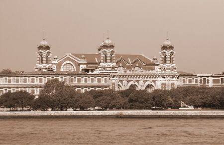ellis: Ellis Island as the early U.S. immigrants would have seen it. Stock Photo