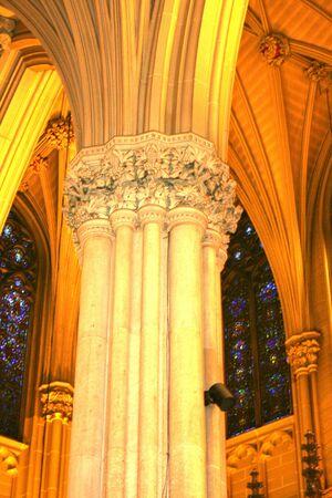 Interior column of New York Citys St. Patricks cathedral.