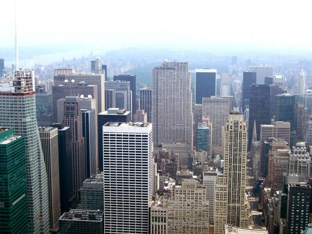 A view of the NYC skyline from the Empire State building. Banco de Imagens