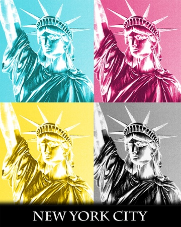 Artistic poster of the Statue of Liberty