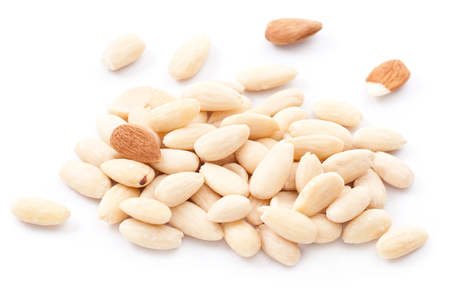 Blanched almonds on white background  版權商用圖片