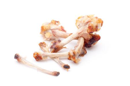 Chicken bones on white background