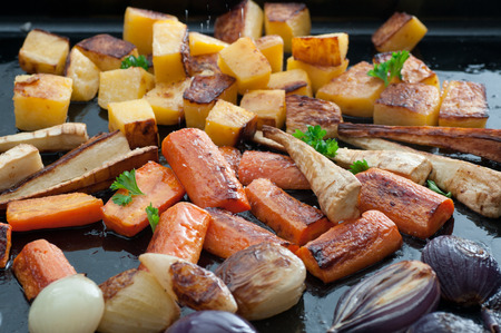 rutabaga: Roasted turnips, parsnips, carrots and onions with sea salt and olive oil