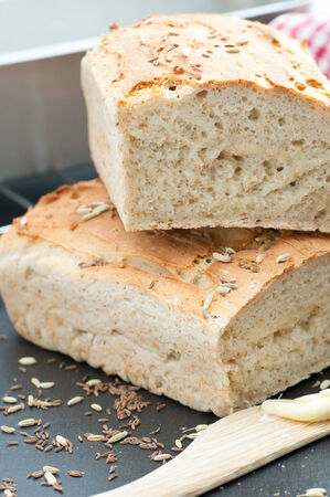 homemade bread: Homemade gluten free bread, spiced with caraway and fennel.