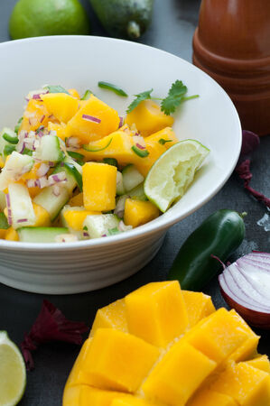 spanish onion: Salsa with mango, cucumber, spanish onion, jalapeno. Spiced with cilantro, lime, salt and pepper.