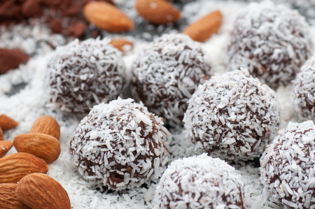 Almond and cacao candy balls rolled in cocos.