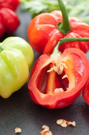 habanero: Very hot habanero chili pepper close up. Stock Photo