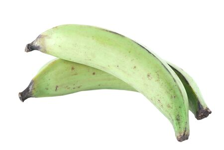 Two green plantains on white background.