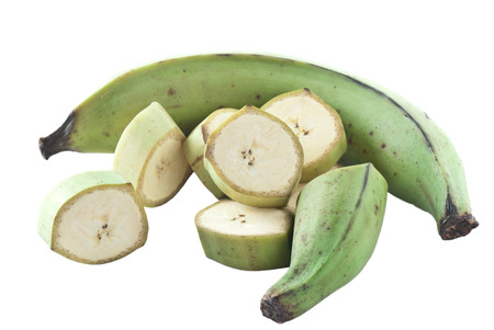 plantain: Plantain, whole and sliced on white background. Stock Photo