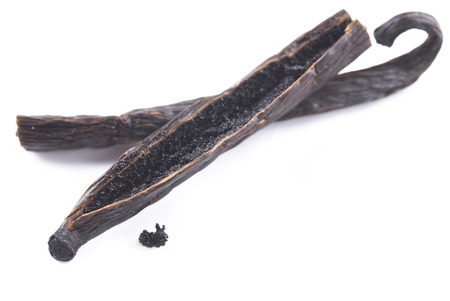 Vanilla pod on white background. Banque d'images