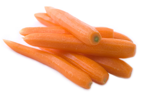 Peeled carrots on white background. Stok Fotoğraf