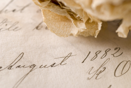 ancestry: Old document from 1882 with a dried rose. Stock Photo