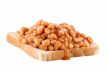 Baked beans on toast bread.