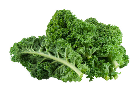 Kale close up on white background.