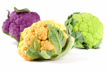 Yelloworange, green and purple cauliflower.