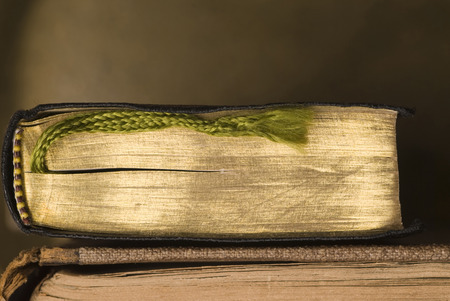 plaited: Two old books. One with gold colored pages and plaited bookmark.