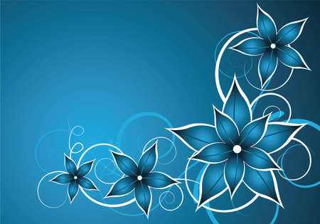 abstract blue vector background with flower