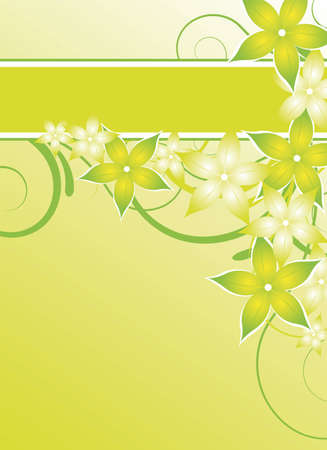 green floral design with flowers for flyer Illustration