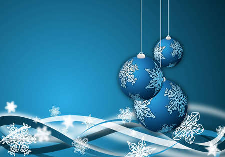 abstract blue christmas background with ornaments Stock Photo - 6024476
