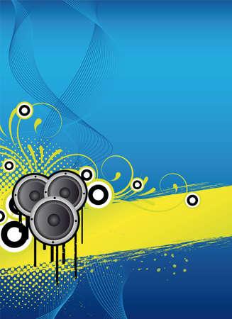 blue abstract partij flyer ontwerpen met versieringen
