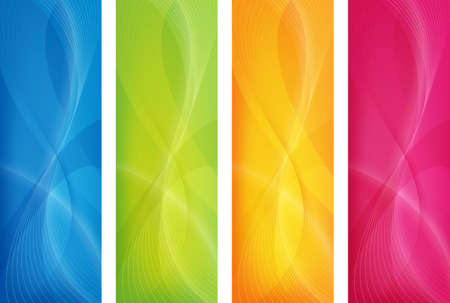 orange banner: abstract design in 4 colors