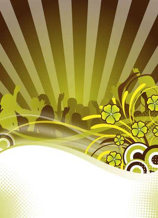 abstract green party flyer ontwerpen met versieringen