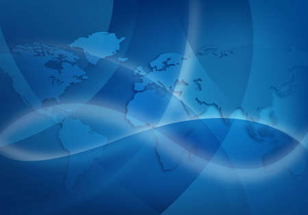 abstract blue background with world map Stock Photo