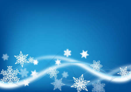 abstract blue christmas background with snow flakes photo