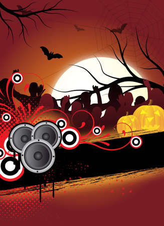abstract halloween flyer design with dancing people photo