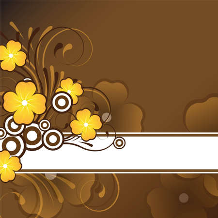 text area: brown and orange floral design with text area Stock Photo