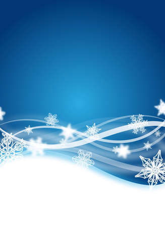 abstract blue winter flyer design with snowflakes Stock Photo - 6261929