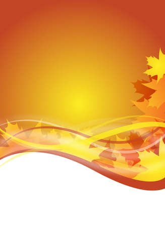 abstract orange autumn flyer design with maple leaves
