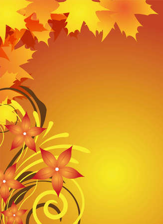 abstract autumn background with leaves and flowers for flyer design photo
