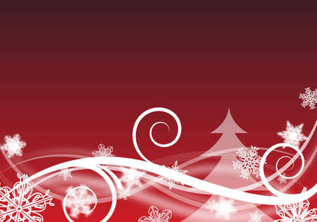 red and white abstract christmas background with snowfalkes Stock Photo - 6293140