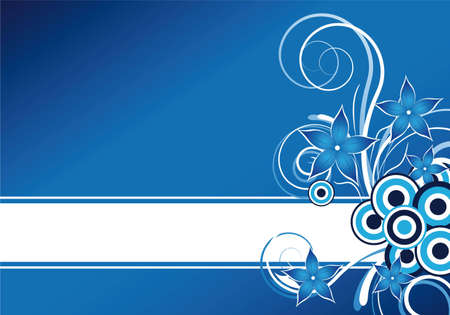 abstract blue floral background design with text frame Stock Photo