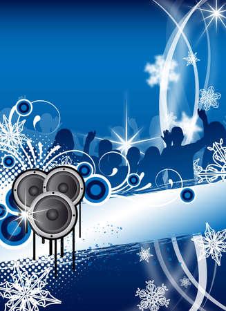 winter party: astratto blu Natale  inverno volantino