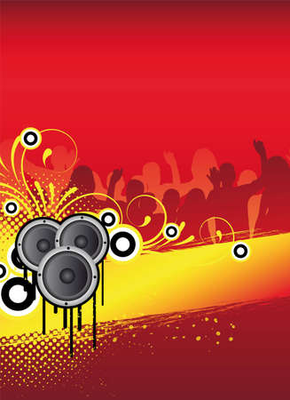 party flyer: red abstract party flyer design with dancing people Stock Photo
