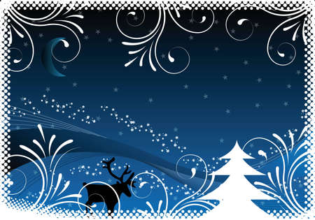 blue christmas background with ornaments for design photo