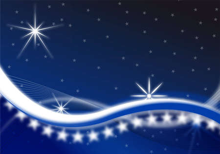 blue christmas background with waves and stars Stock Photo - 6358337