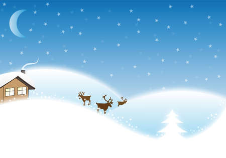 Winter / Christmas Landscape with reindeers and a small house Stock Photo - 6358338